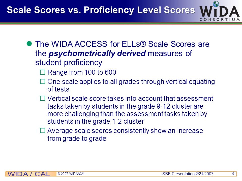 Scale Scores vs. Proficiency Level Scores