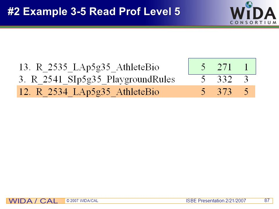 #2 Example 3-5 Read Prof Level 5