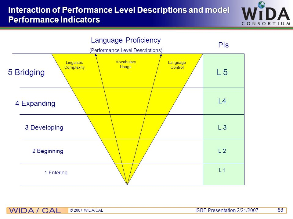 Interaction of Performance Level Descriptions and model Performance Indicators
