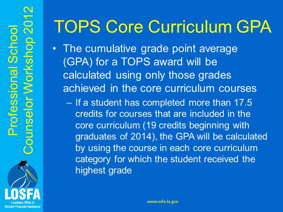 TOPS Core Curriculum GPA