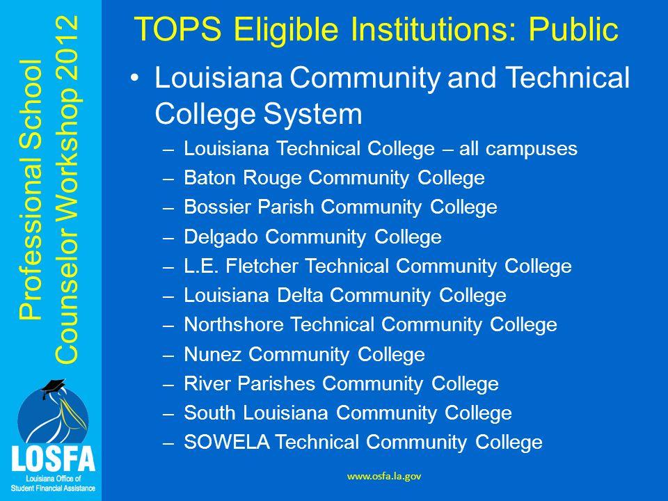 TOPS Eligible Institutions: Public