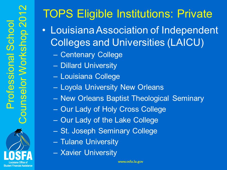 TOPS Eligible Institutions: Private