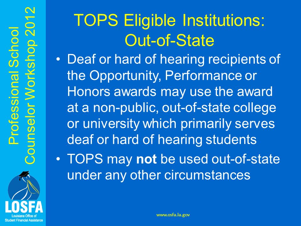 TOPS Eligible Institutions: Out-of-State