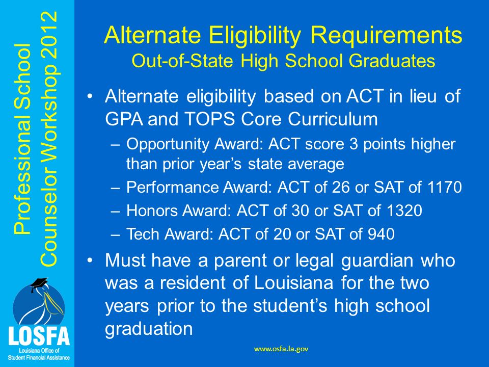 Alternate Eligibility Requirements Out-of-State High School Graduates