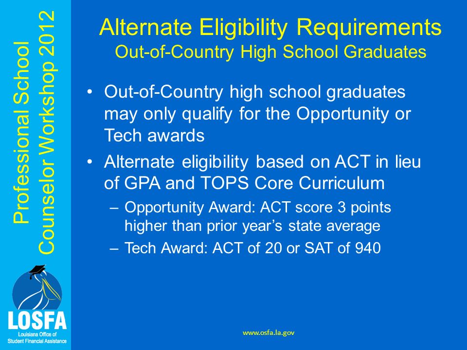 Alternate Eligibility Requirements Out-of-Country High School Graduates
