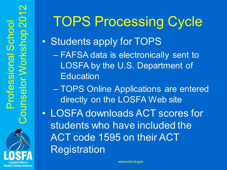 TOPS Processing Cycle Students apply for TOPS