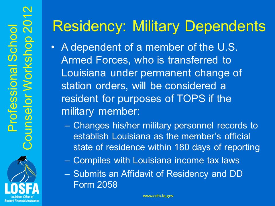 Residency: Military Dependents