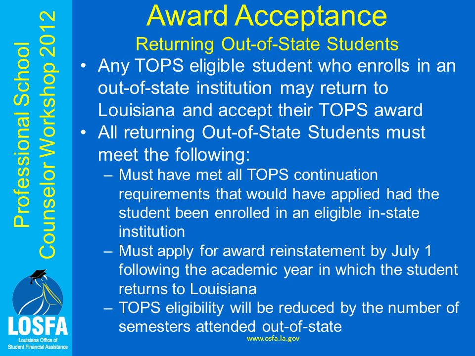 Award Acceptance Returning Out-of-State Students