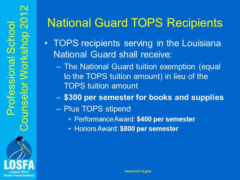 National Guard TOPS Recipients