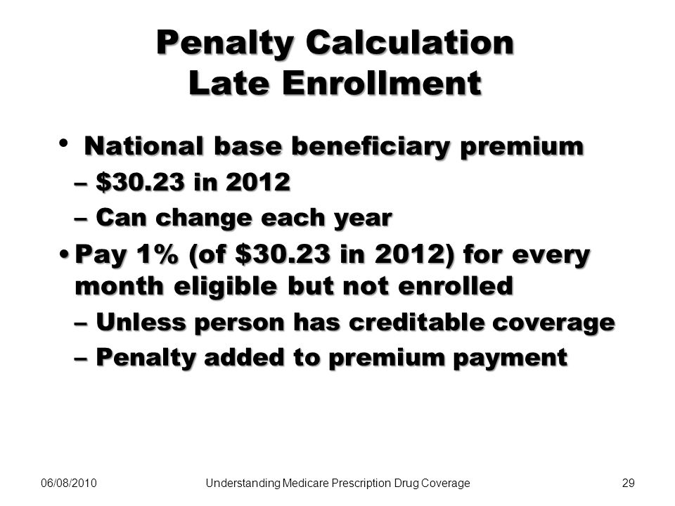 Penalty Calculation Late Enrollment