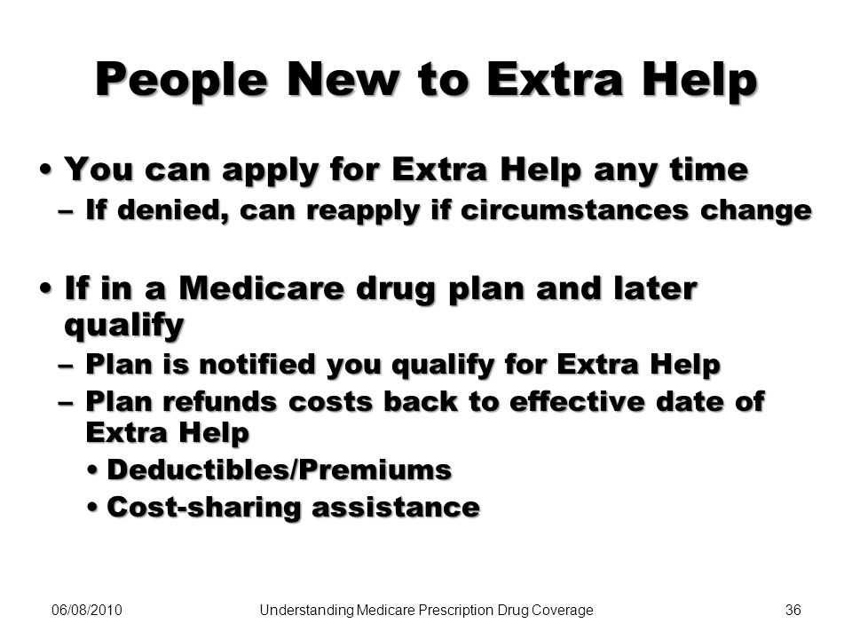 People New to Extra Help