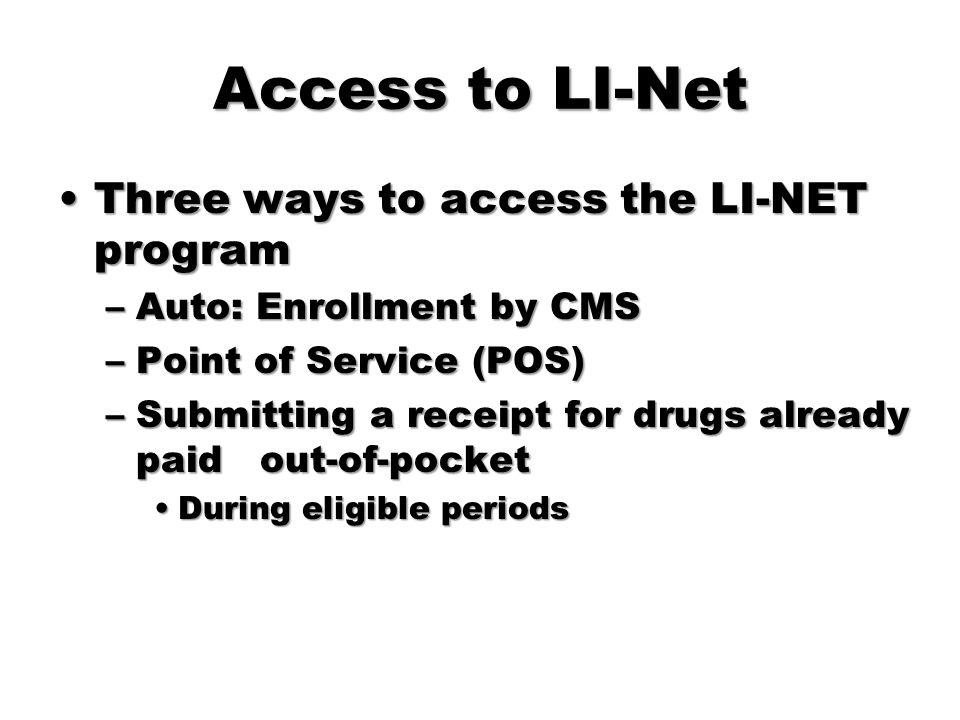 Access to LI-Net Three ways to access the LI-NET program