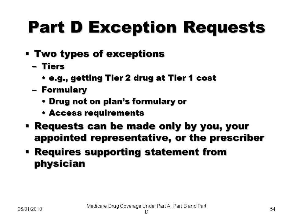 Part D Exception Requests