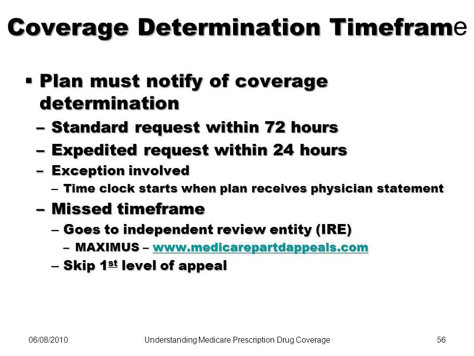Coverage Determination Timeframe