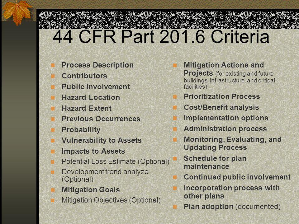 44 CFR Part 201.6 Criteria Process Description Contributors