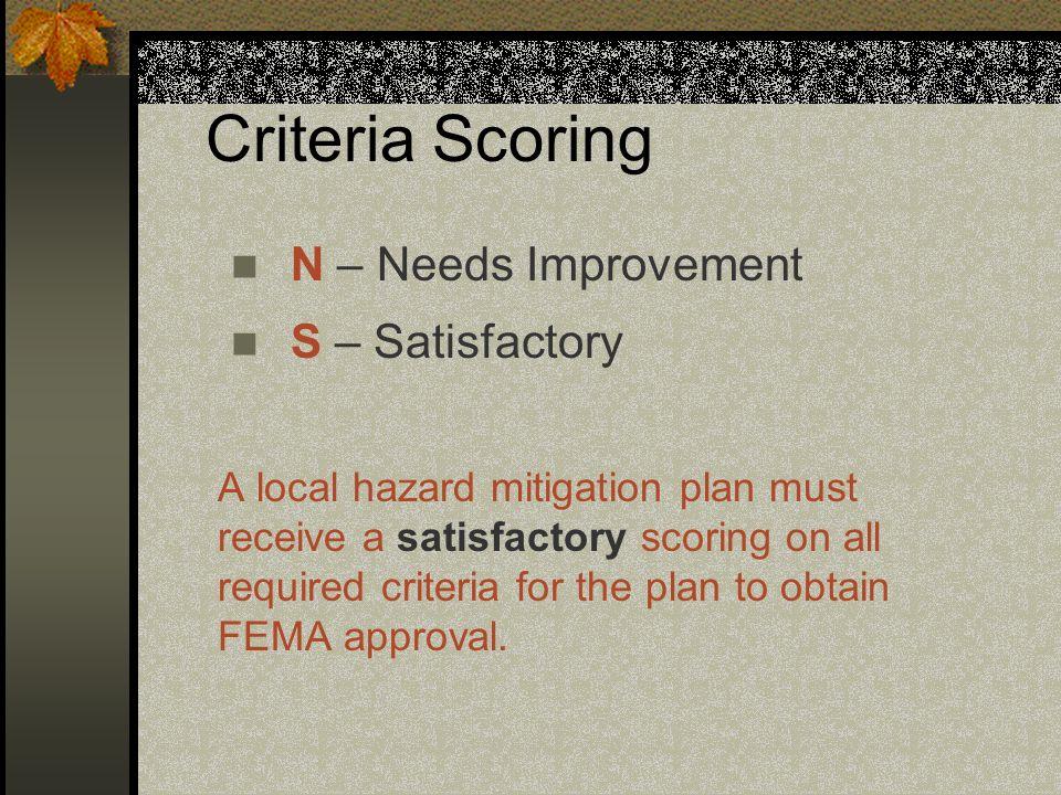 Criteria Scoring N – Needs Improvement S – Satisfactory