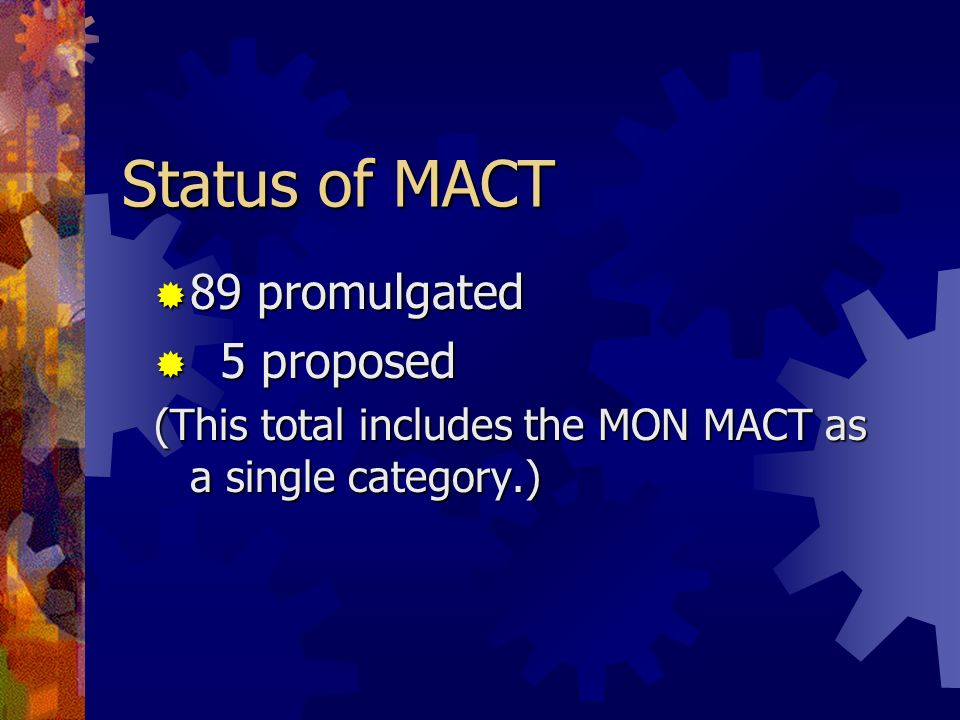 Status of MACT 89 promulgated 5 proposed