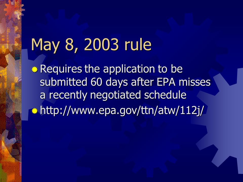 May 8, 2003 rule Requires the application to be submitted 60 days after EPA misses a recently negotiated schedule.