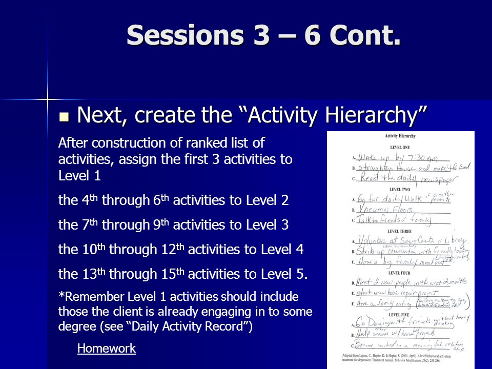 Sessions 3 – 6 Cont. Next, create the Activity Hierarchy