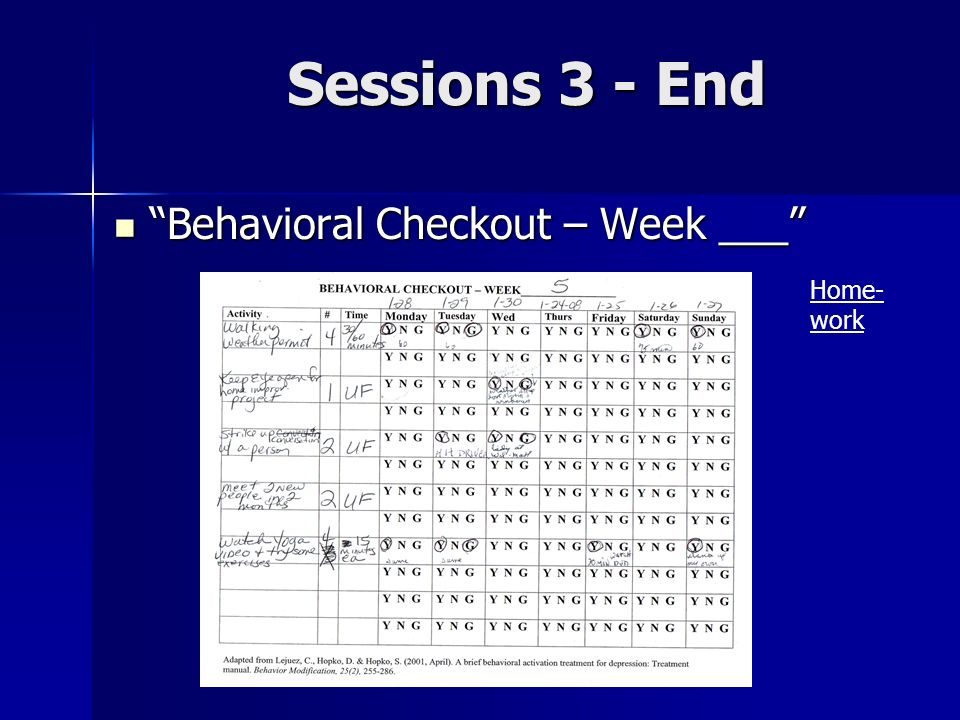 Sessions 3 - End Behavioral Checkout – Week ___ Home-work