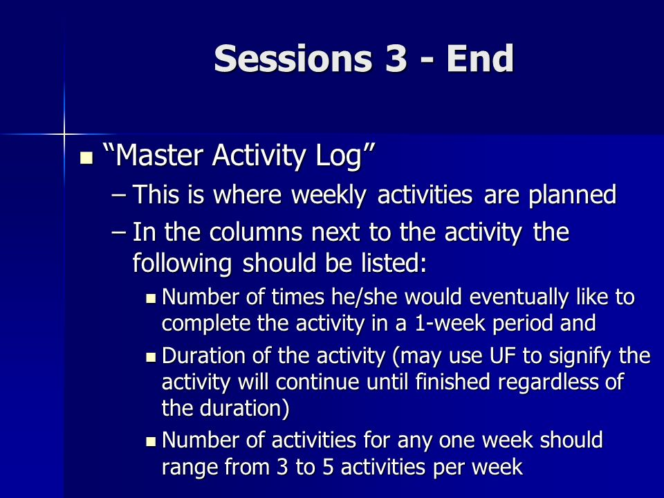 Sessions 3 - End Master Activity Log