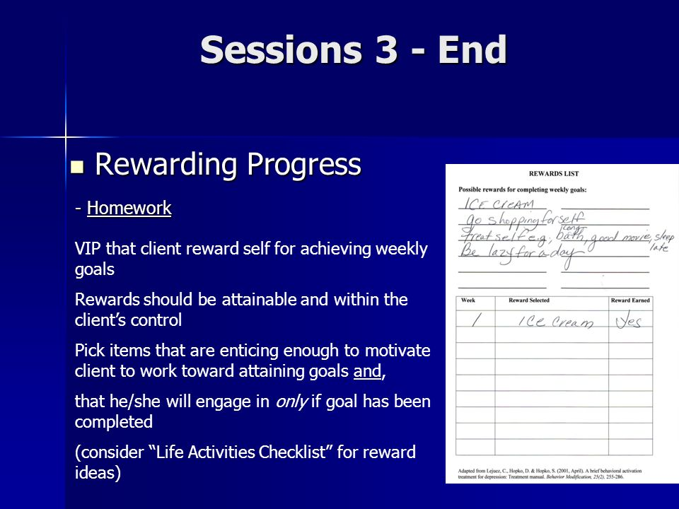 Sessions 3 - End Rewarding Progress - Homework