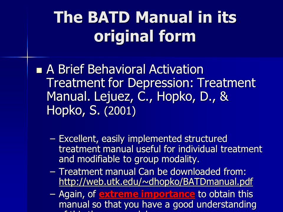The BATD Manual in its original form