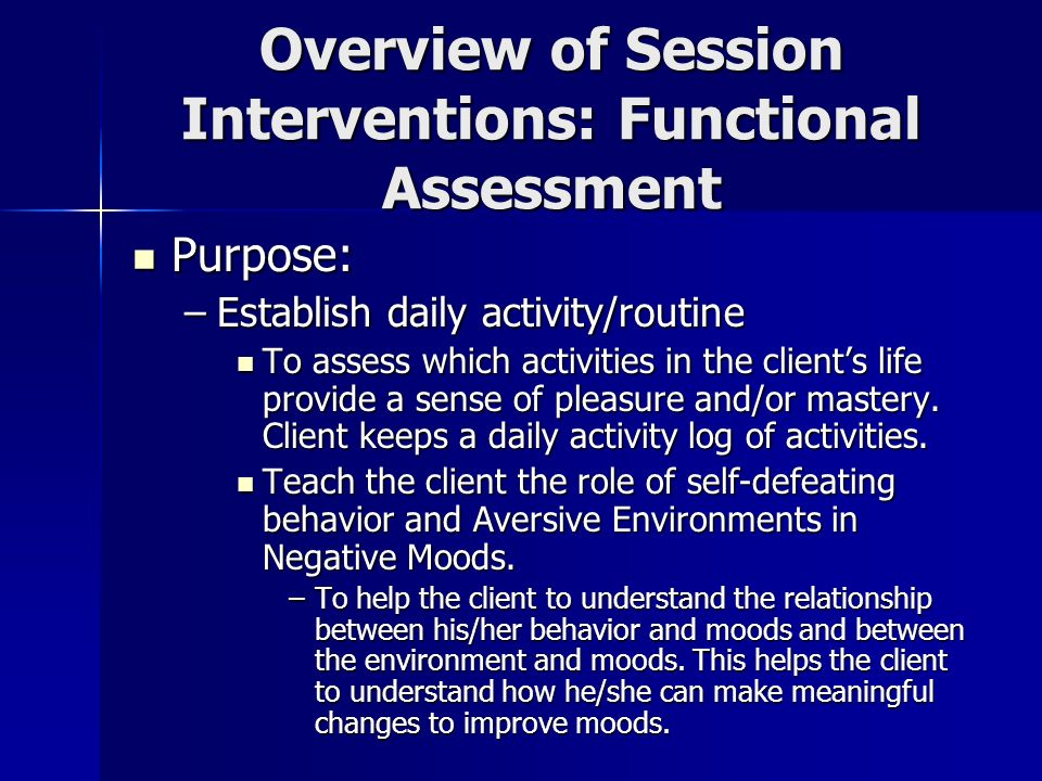 Overview of Session Interventions: Functional Assessment