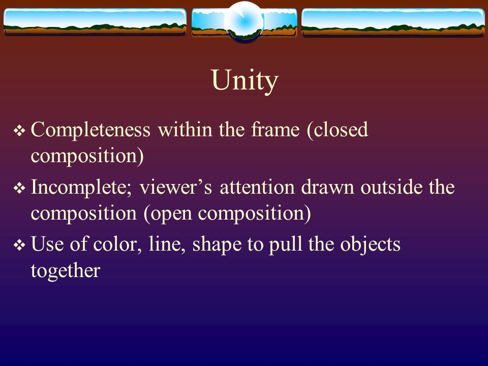 Unity Completeness within the frame (closed composition)