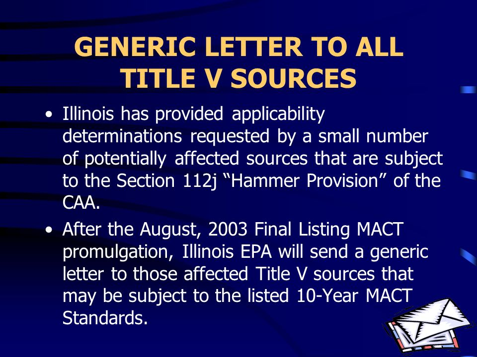 GENERIC LETTER TO ALL TITLE V SOURCES