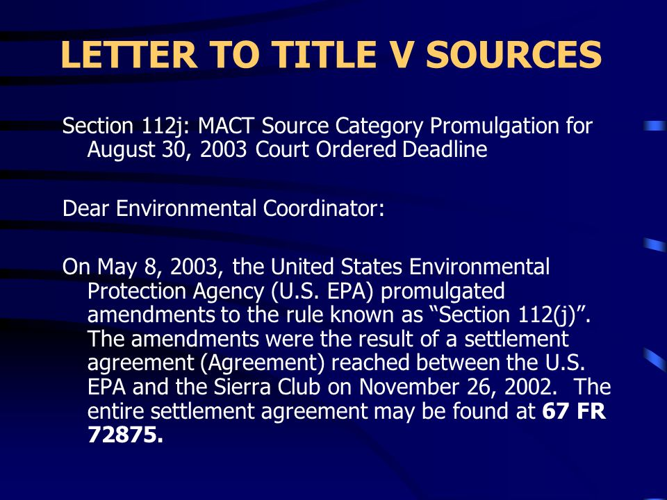 LETTER TO TITLE V SOURCES