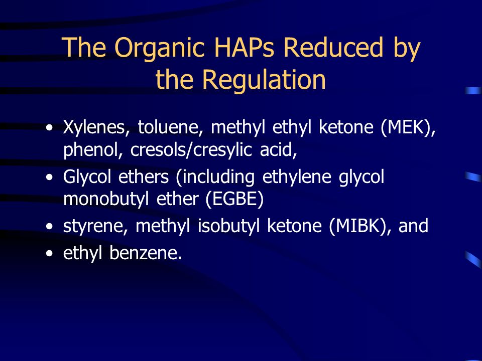 The Organic HAPs Reduced by the Regulation
