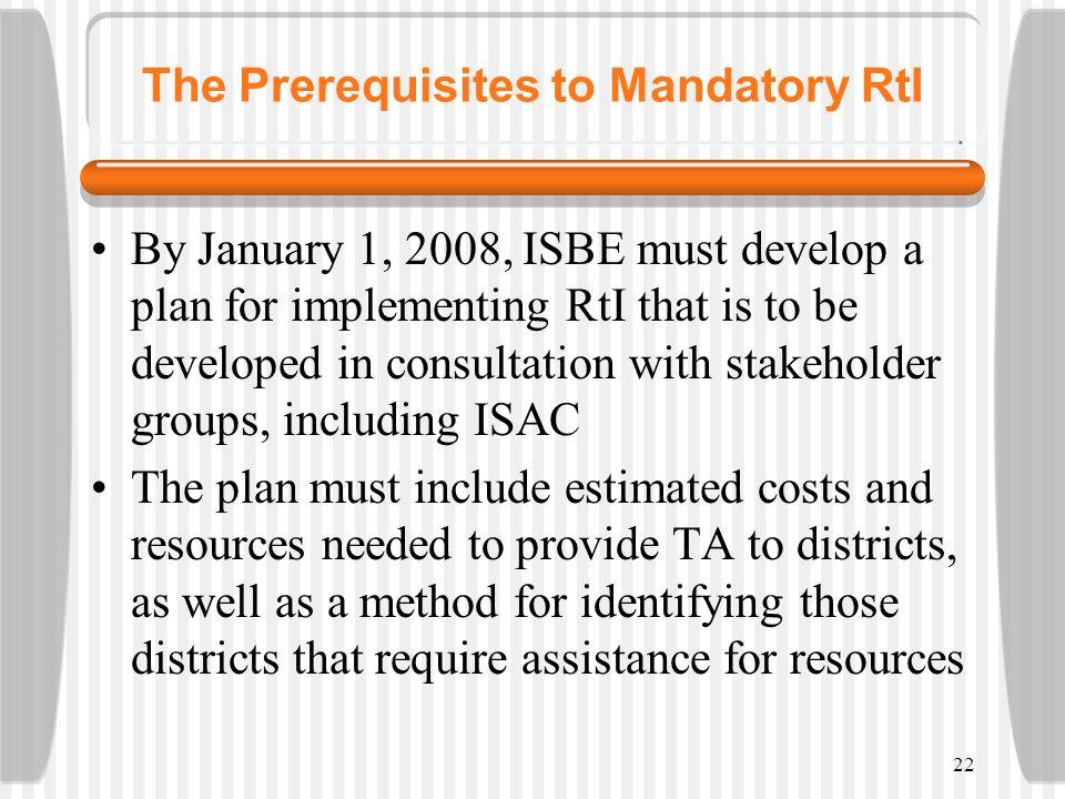 The Prerequisites to Mandatory RtI