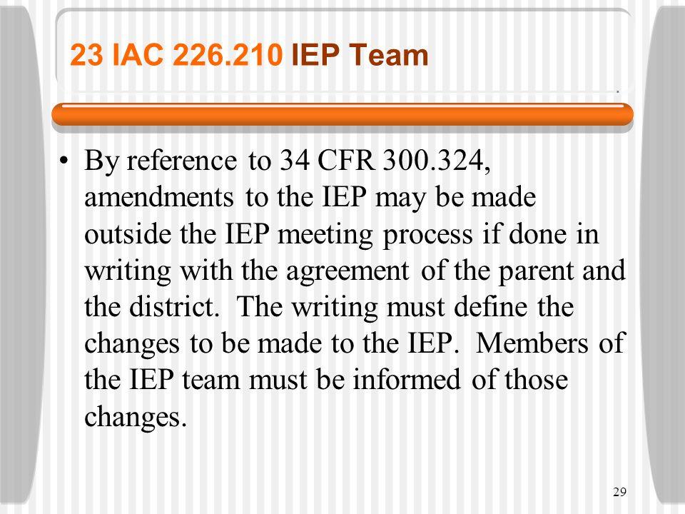 23 IAC 226.210 IEP Team