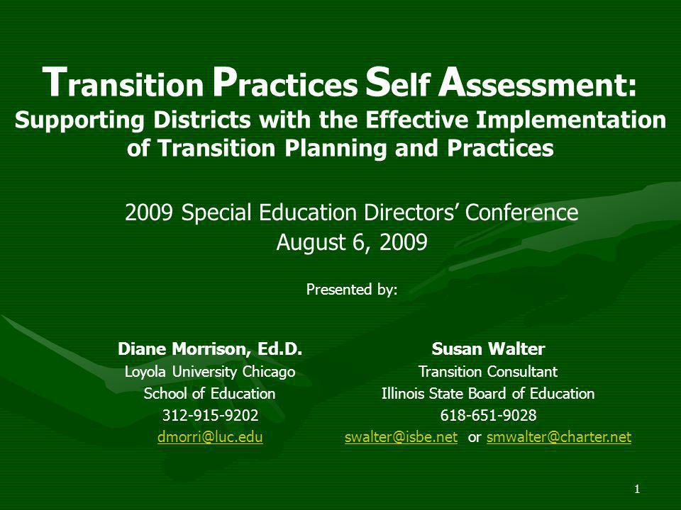 Transition Practices Self Assessment: Supporting Districts with the Effective Implementation of Transition Planning and Practices