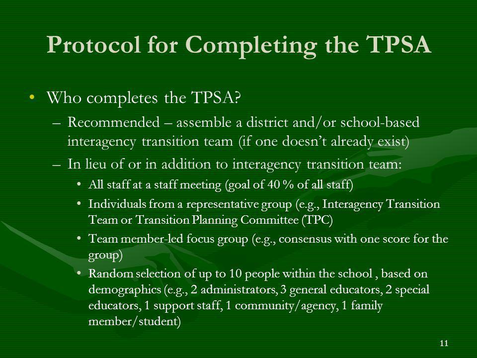 Protocol for Completing the TPSA