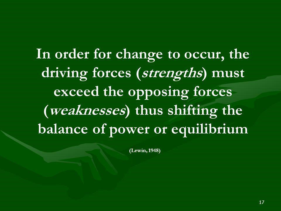 In order for change to occur, the driving forces (strengths) must exceed the opposing forces (weaknesses) thus shifting the balance of power or equilibrium (Lewin, 1948)