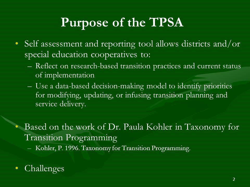 Purpose of the TPSA Self assessment and reporting tool allows districts and/or special education cooperatives to: