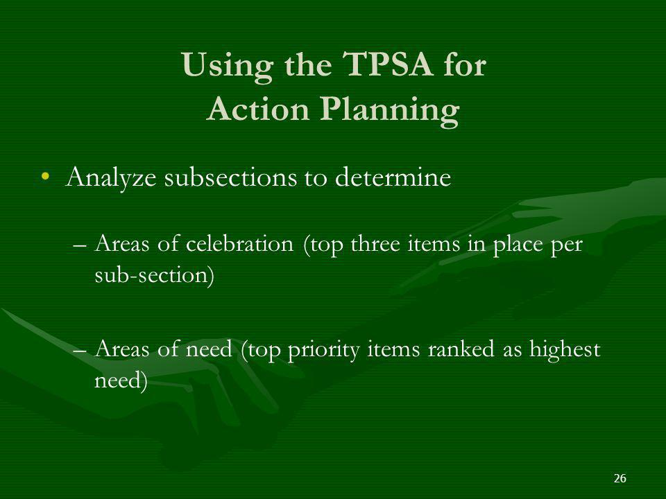 Using the TPSA for Action Planning