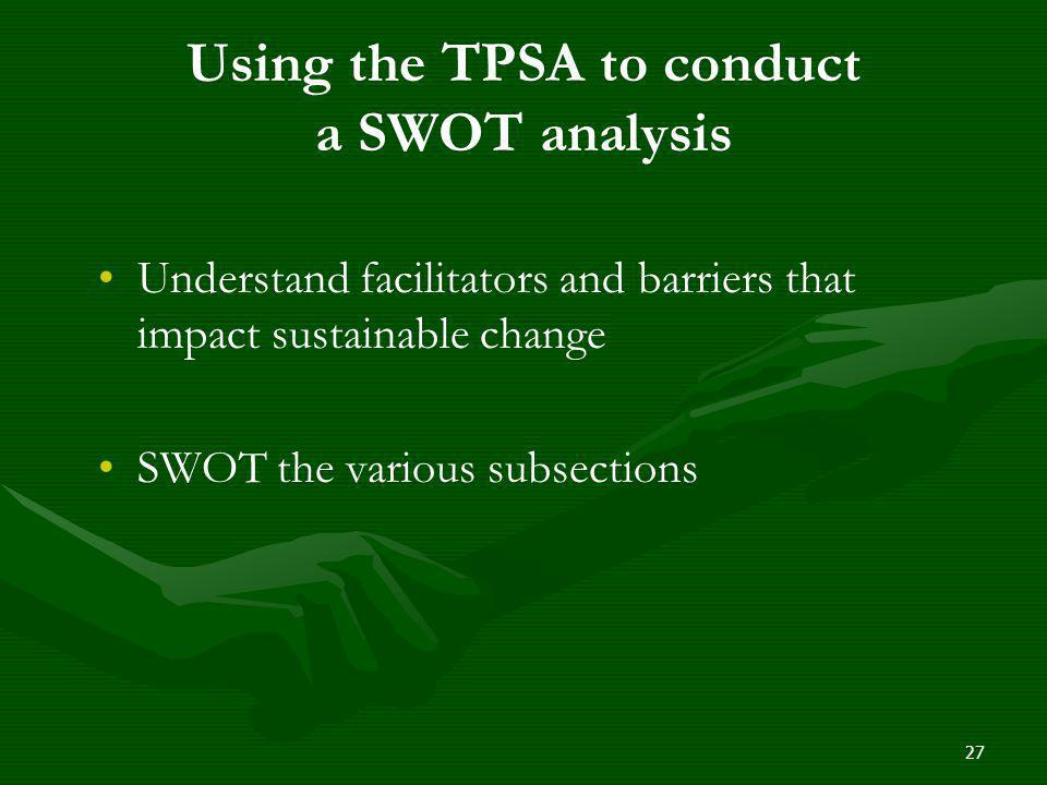 Using the TPSA to conduct a SWOT analysis