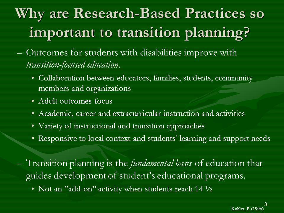 Why are Research-Based Practices so important to transition planning