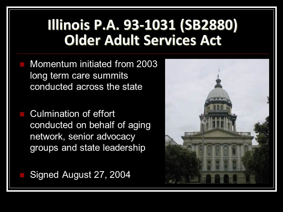 Illinois P.A. 93-1031 (SB2880) Older Adult Services Act