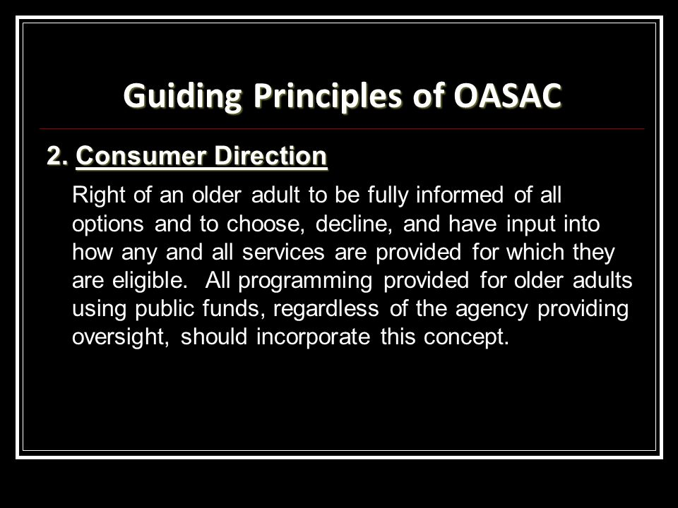 Guiding Principles of OASAC