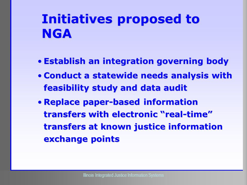 Initiatives proposed to NGA