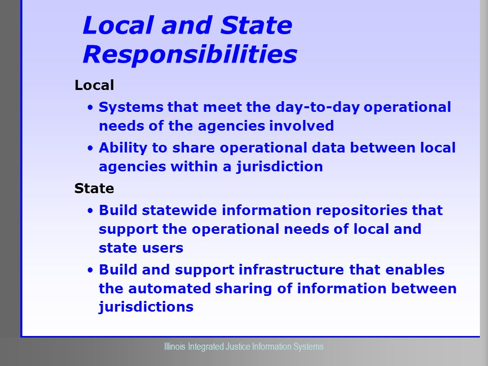 Local and State Responsibilities