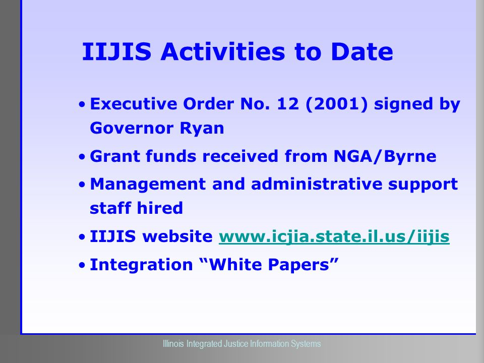 IIJIS Activities to Date