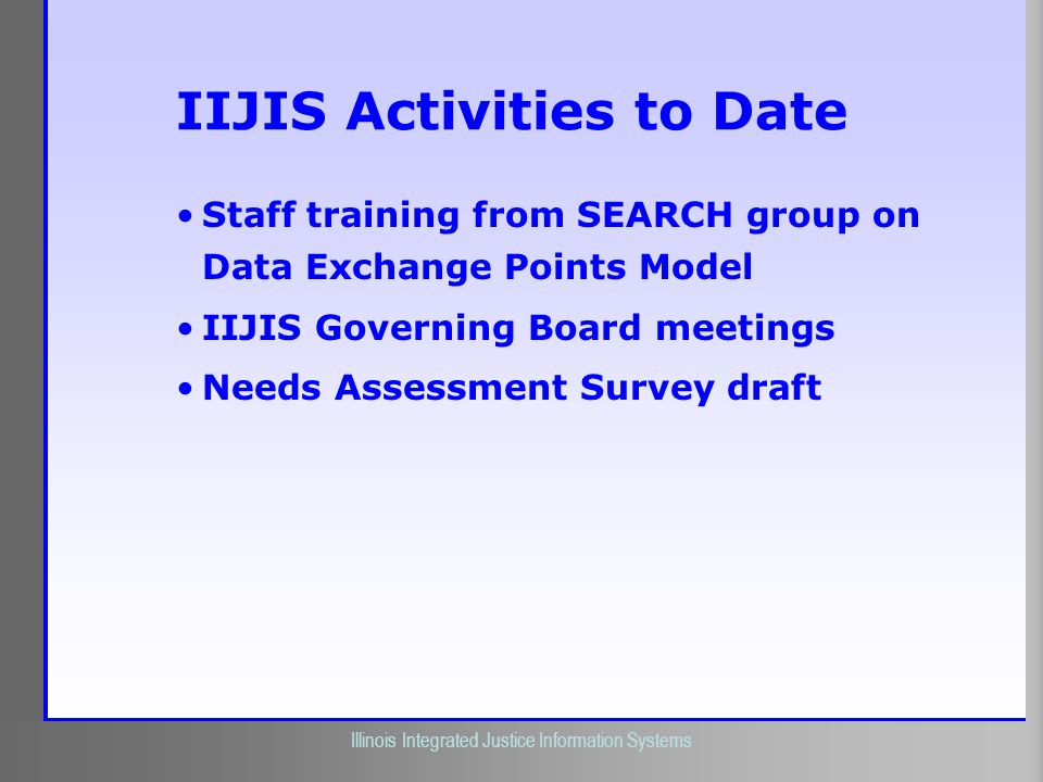 IIJIS Activities to Date