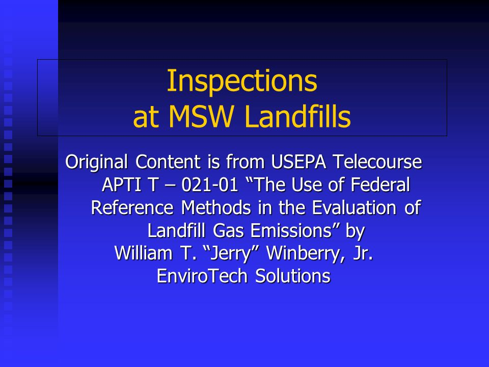 Inspections at MSW Landfills