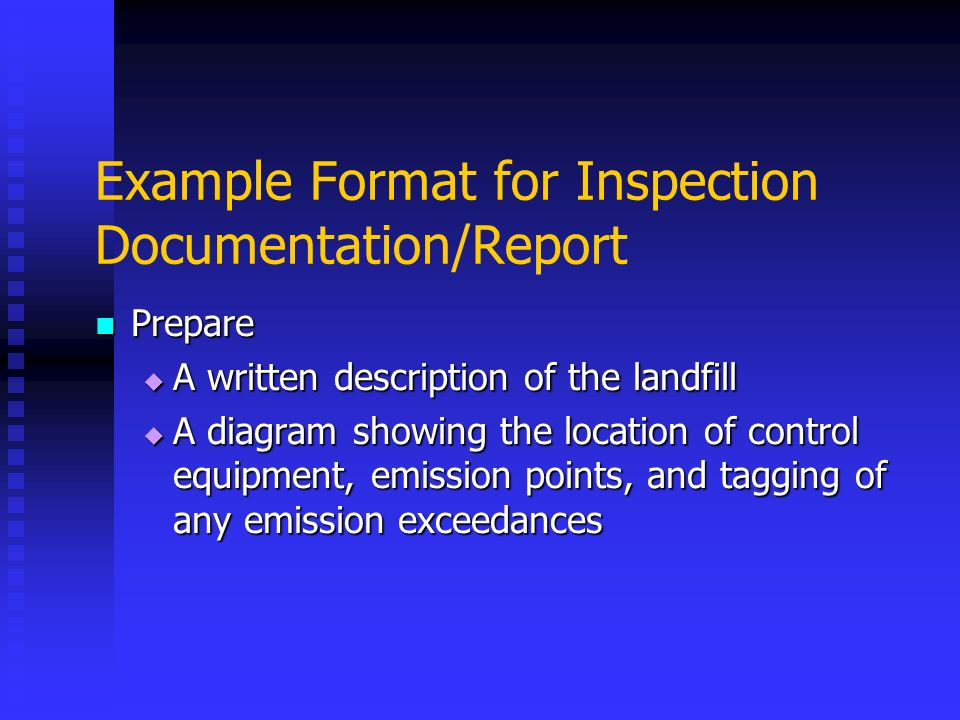 Example Format for Inspection Documentation/Report