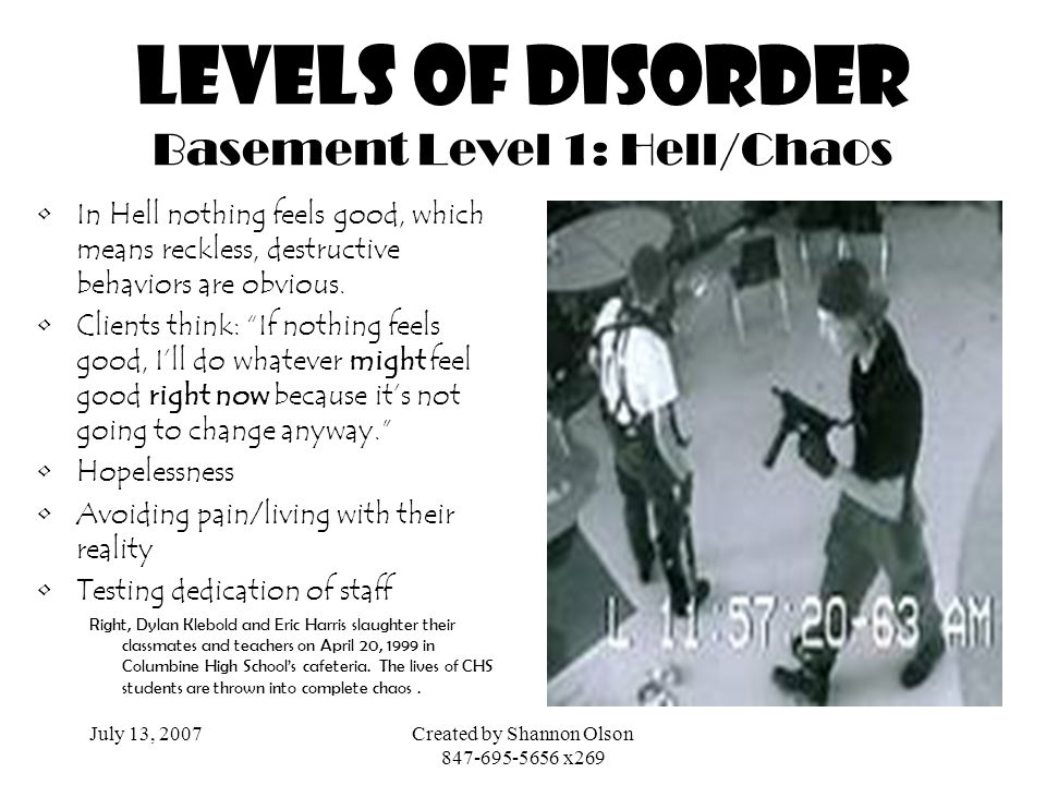 Levels of disorder Basement Level 1: Hell/Chaos